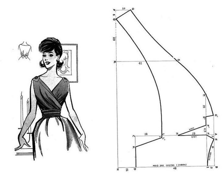 Free Vintage Wrap Top Sewing Draft Pattern