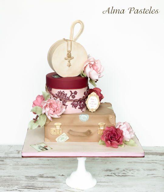Pink Designer Suitcase Cake