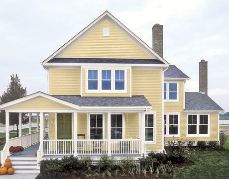 yellow houseHouse Painting, Exterior House, Dreams House, Exterior Painting Colors, Front Doors, Colors Combinations, Exterior Colors, Paint Colors, Yellow House