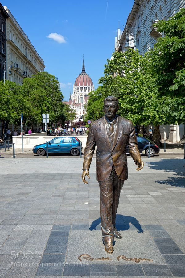 Statue of Ronald Reagan in Budapest Hungary by gibsy1