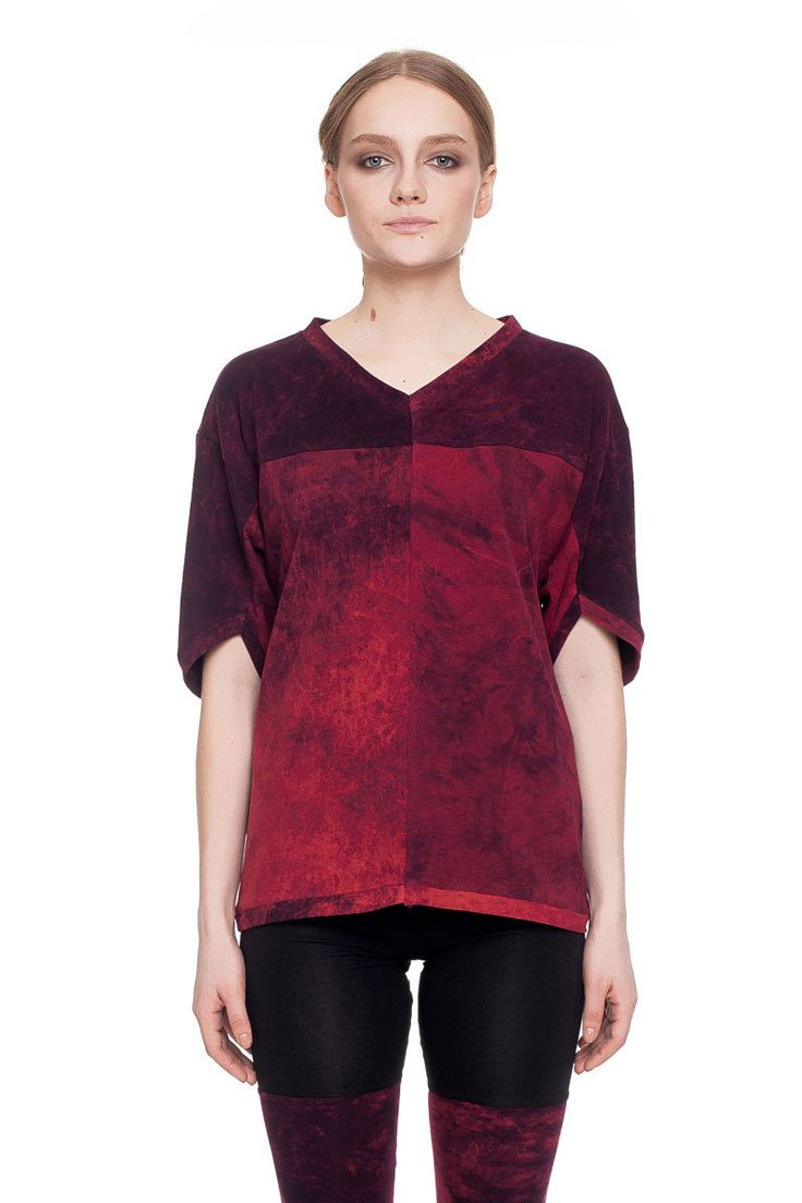 Relaxed fit T-shirt, burgundy acid wash    #mariashi #fashion #russiandesigners #nofilter #outfit #outfitoftheday #outfits #outfitpost #clothes #fashionista #fashiondesigner #shopping