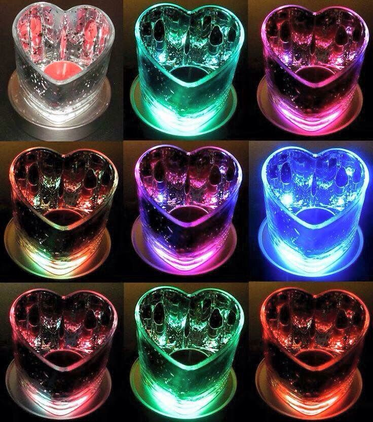 Warm hearts tealight holder with LED colour changing base