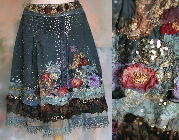Night's starry sky,  embroidered bohemian romantic skirt, antique and vintage lace, silks, unique wearable art,