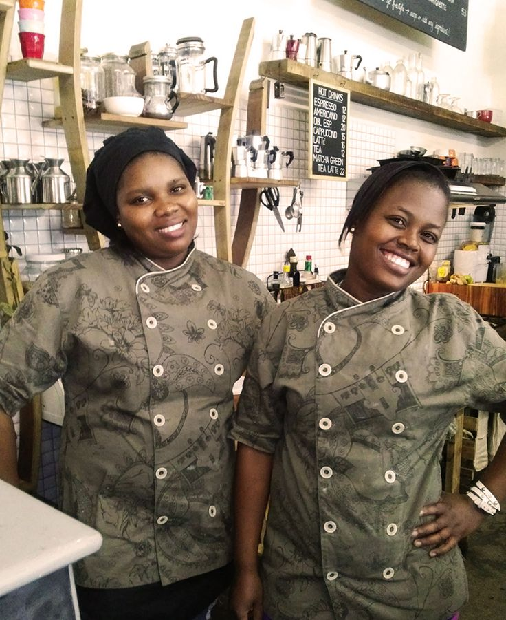 The gorgeous ladies at Starling and Hero Bicycle Cafe in their custom-made Minted Ginger Chef Jackets