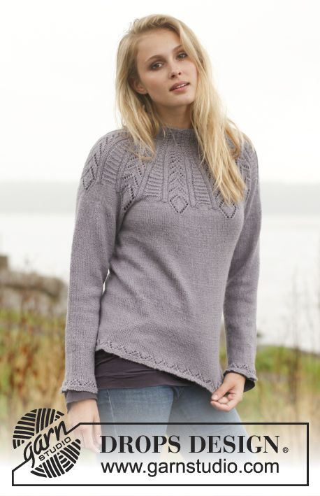 "Knitted DROPS jumper with lace pattern and round yoke in ""BabyAlpaca Silk"". Size S - XXXL ~ DROPS Design"