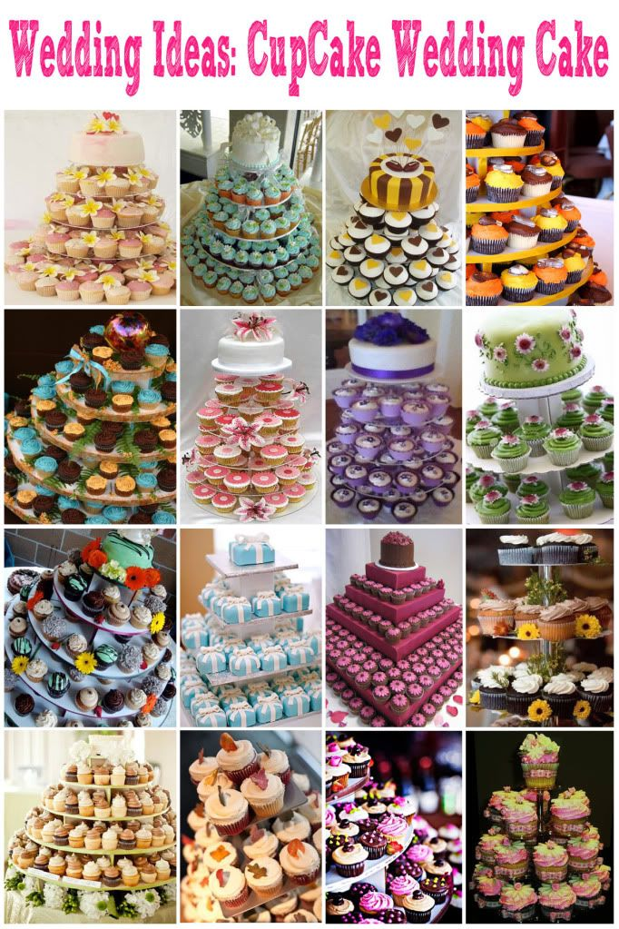 Cupcake Wedding Cakes! i wanna do this! makes serving so much easier plus who doesnt like cupcakes!