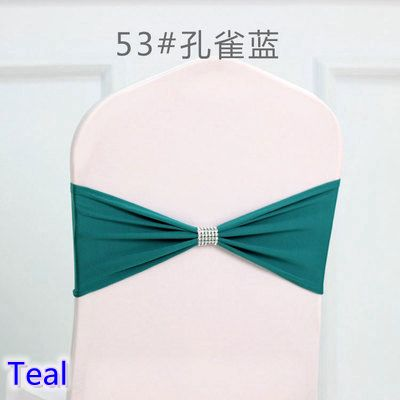 Colour Teal tie bands Lycra sash chair sash Bow tie ribbon For Wedding Party Banquet Decoration wholesale with shiny belt
