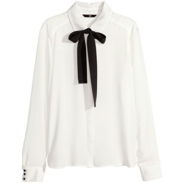H M Blouse With A Bow 195 Cny Found On Polyvore Ideas For The