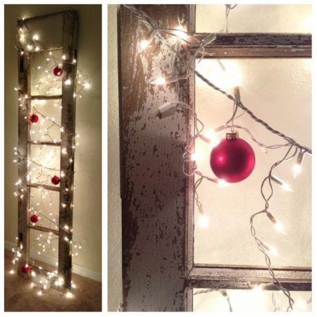 Christmas lights on an old window pane - crafty Christmas decor from Haute 31