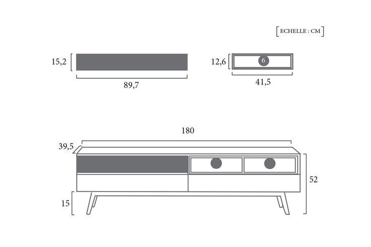 Schéma Technique Meuble TV Design Nordique Dewarens
