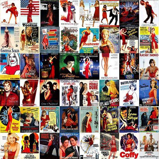 Rode jurk: De rode jurk markeert een echte vrouwenfilm. Een sterke vrouw of een grappige dame speelt vaak de hoofdrol.