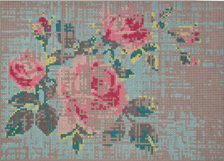 After all the oohs and ahhs over Eline Pellinkhof's gorgeous painted rose mural in the current issue of Mollie Makes, it got us thinking, what other inspiration is out there for DIY cross stitch interiors? So, we've tracked down some inspiration. What about this cushion - so easy you could do it yourself...