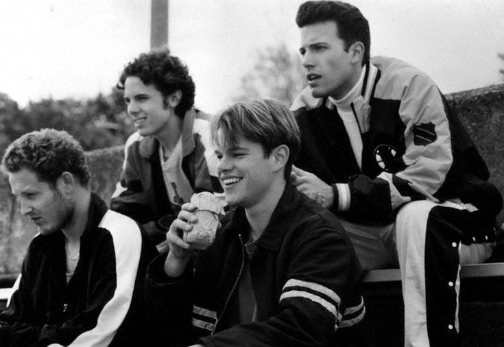 From right to left: Ben, Matt Damon, Casey Affleck, and their good friend Cole Hauser in Good Will Hunting