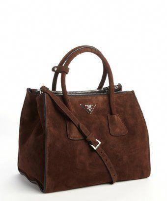 d3c5d850f133 Prada: brown suede twin pocket tote bag #Pradahandbags | Prada ...
