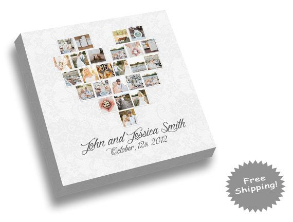 Heart Photo Collage Canvas Print  Wedding by YourMemoriesOnCanvas