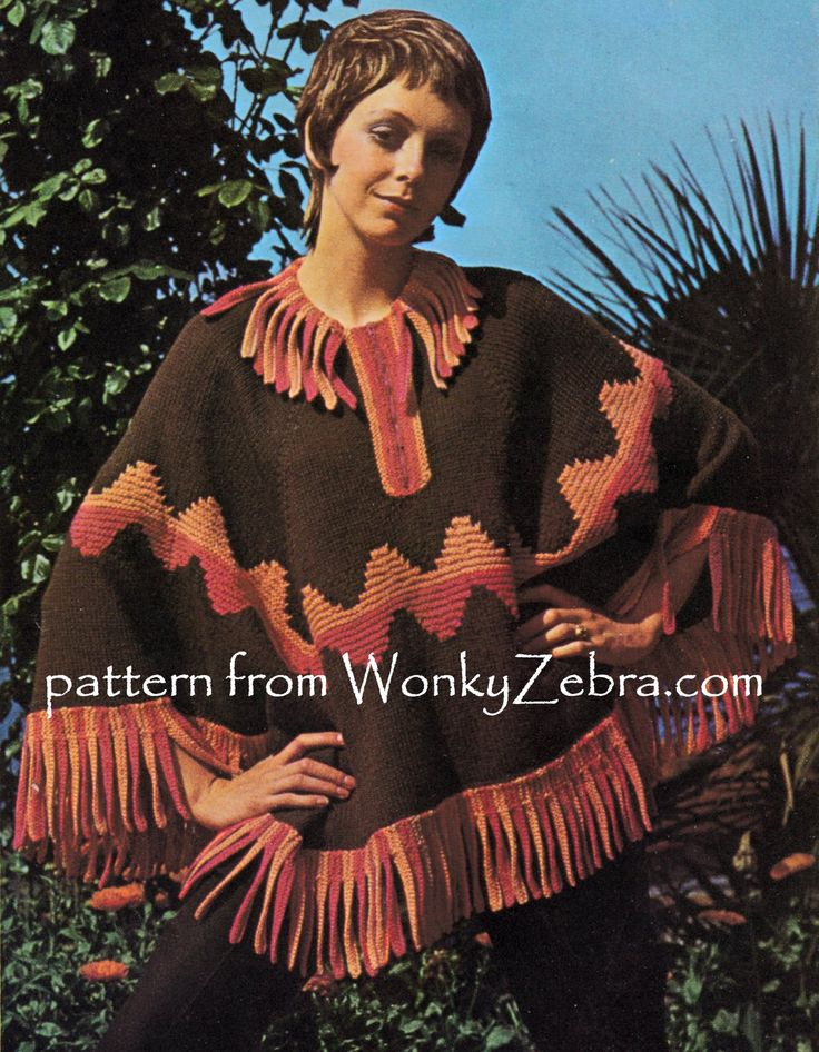 Aztec Inca or just fun styling...tab trimmed ripple patterned poncho WZ820