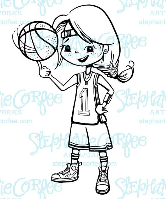 Basketball-Mädchen – B & W Digital Stamp / ClipArt   – basketgirls