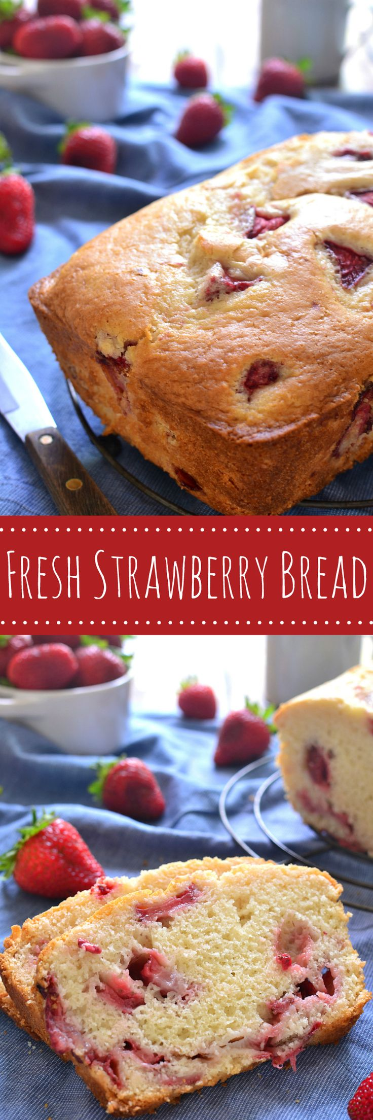 This Fresh Strawberry Bread is the perfect way to make use of fresh summer strawberries! It comes together quickly and is packed with delicious strawberry flavor. Sure to be a family favorite! #brewandrenew #ad (is strawberry a berry)