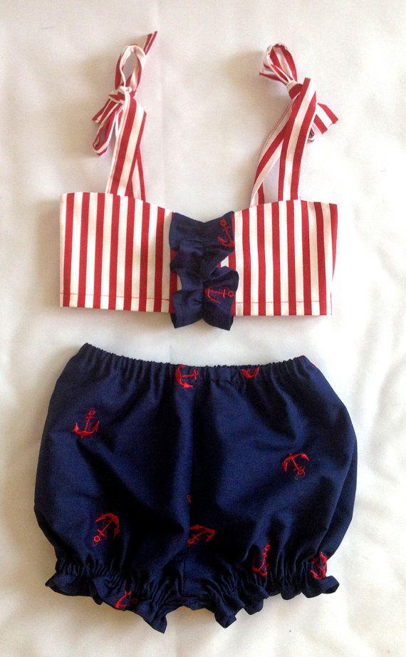 Toddler Girls Retro Anchor Swimsuit