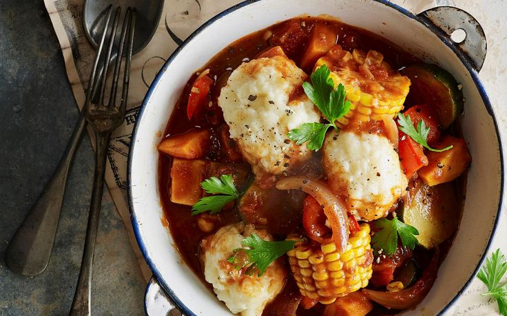 Vegetable stew with polenta dumplings recipe - By Australian Women's Weekly, Looking for a twist on the classic winter stew? Get creative in the kitchen with this hearty vegetable stew with delicious polenta dumplings.