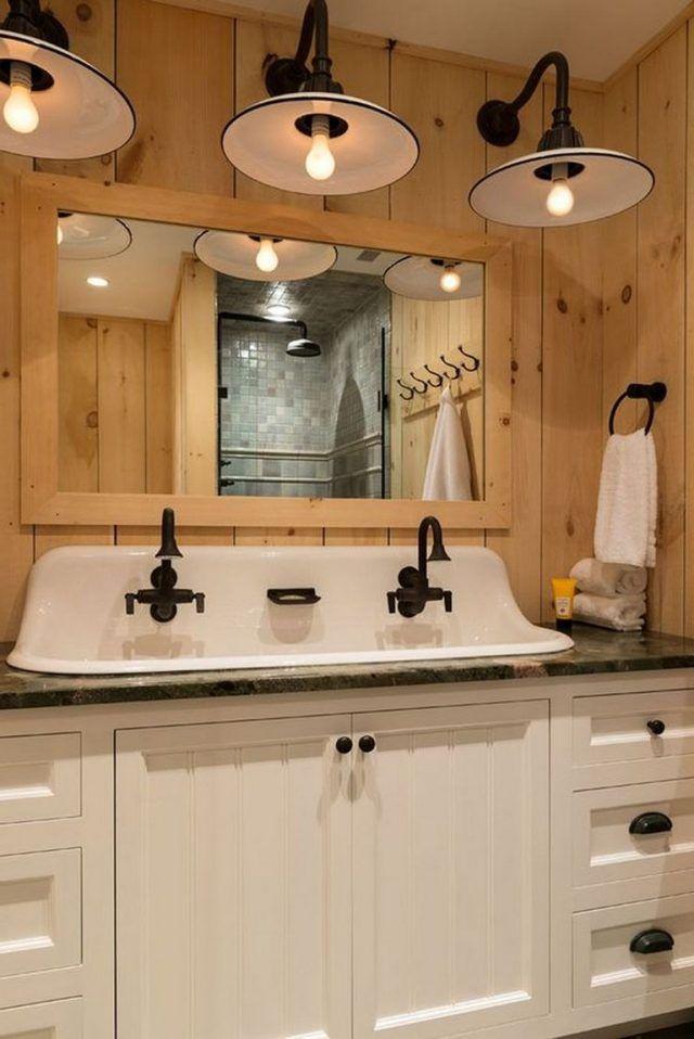 65 Beautiful Rustic Farmhouse Style Bathroom Design Ideas Page 32 Of 65 In 2020 Bathroom Farmhouse Style Farmhouse Bathroom Decor Bathrooms Remodel