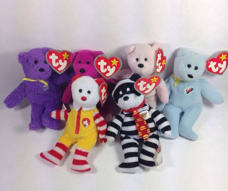 TY McDonalds Beanies Lot 6 Mini Stuffed TY Bears Collectible Cute