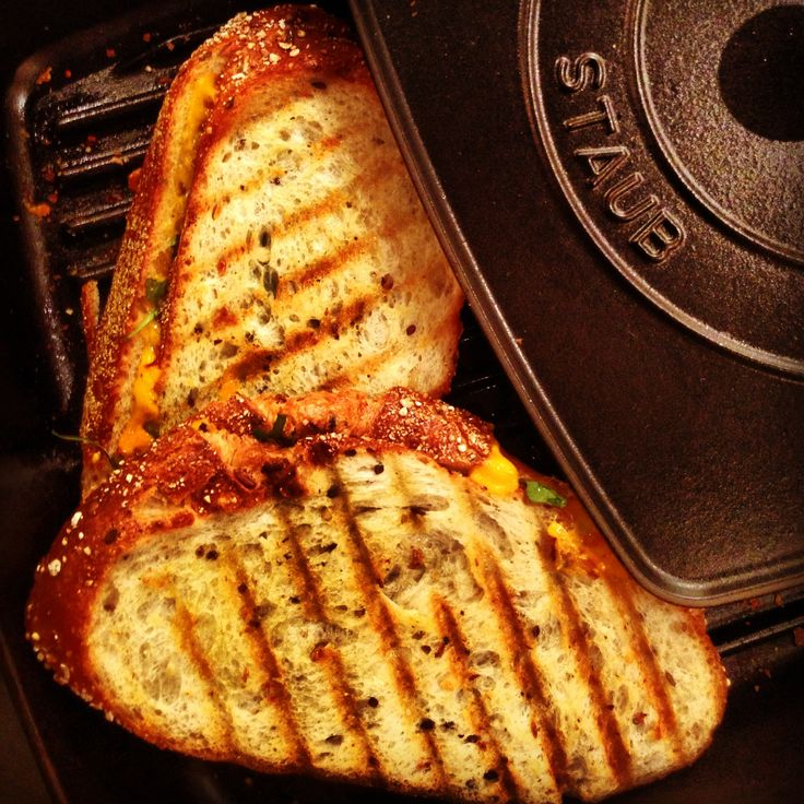 cheddar arugula and pesto infused olive oil panini in a staub grill pan - Staub Grill Pan