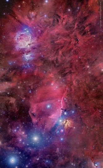 Orion in Gas, Dust, and Stars: The constellation of Orion holds much more than three stars in a row. A deep exposure shows everything from dark nebula to star clusters, all embedded in an extended patch of gaseous wisps in the greater Orion Molecular Cloud Complex. The featured image covers an area with objects that are roughly 1,500 light years away and spans about 75 light years. via NASA