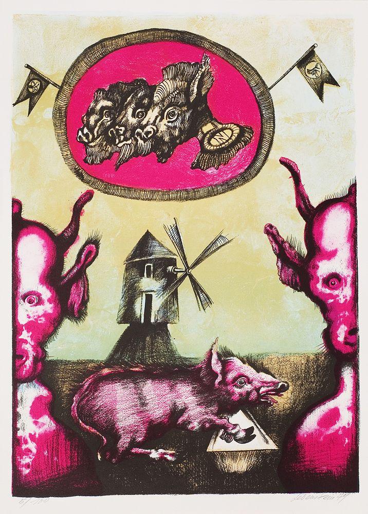 """Jan Lebenstein (Poland) Ilustracja do """"Folwarku zwierzęcego"""" Orwella (Illustration for Orwell's """"Animal Farn""""), 1974"""