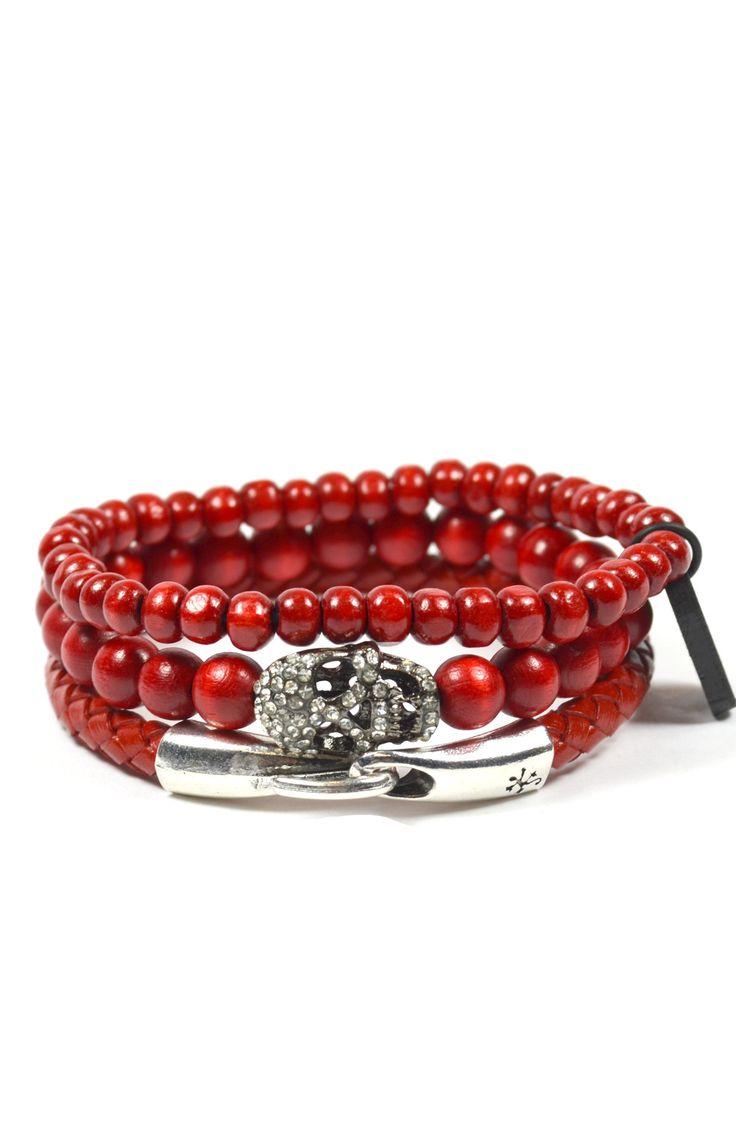 3 Pack Red Skull – Tag Twenty Two Red Skull Bracelet For Mens