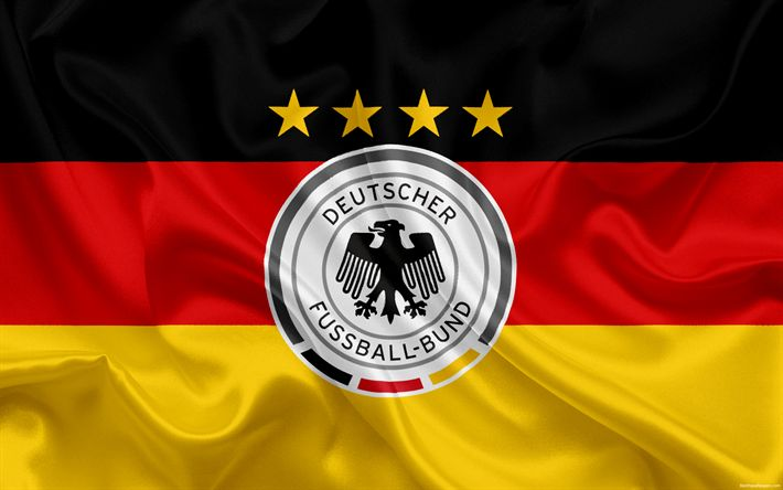Download wallpapers Germany national football team, emblem, logo, football federation, flag, Europe, German flag, football, World Cup