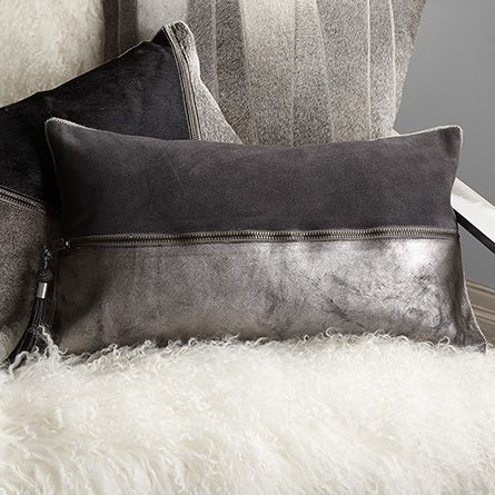 Grey Suede and Leather 1/2 Hide Zip Pillow | Arhaus Furniture