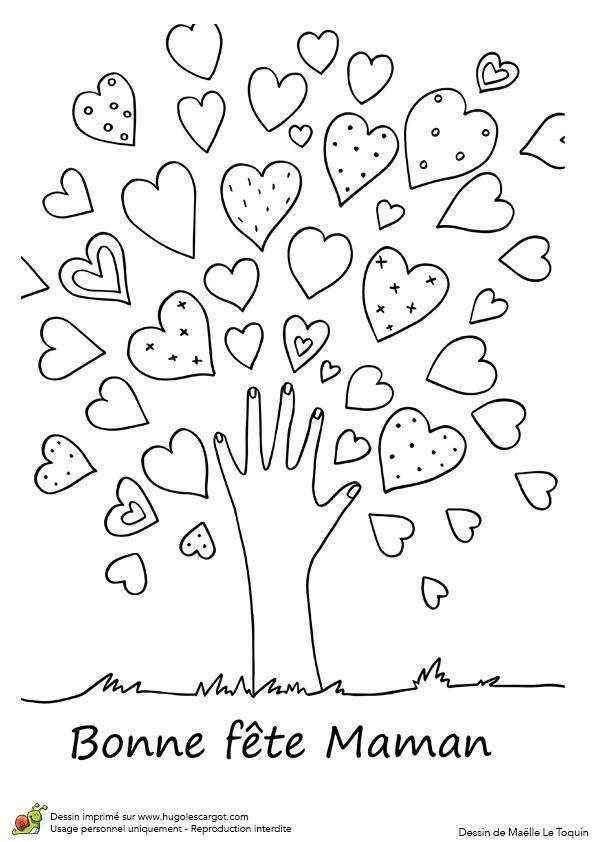 A colorier, dessin d'un arbre à cœurs pour souhaiter bonne fête maman