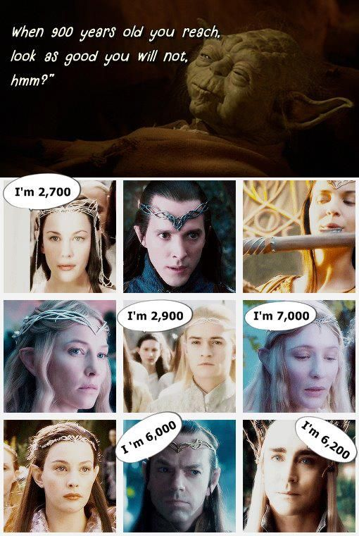 Galadriel and Celeborn are oldest, although Celeborn, for some reason,isn't there. Both Galadriel and Celeborn are older than the sun and the moon.
