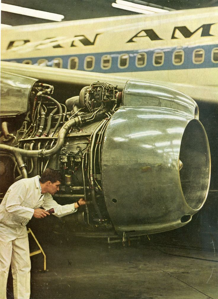 Serving a Jet Engine of Pan AM Airline.