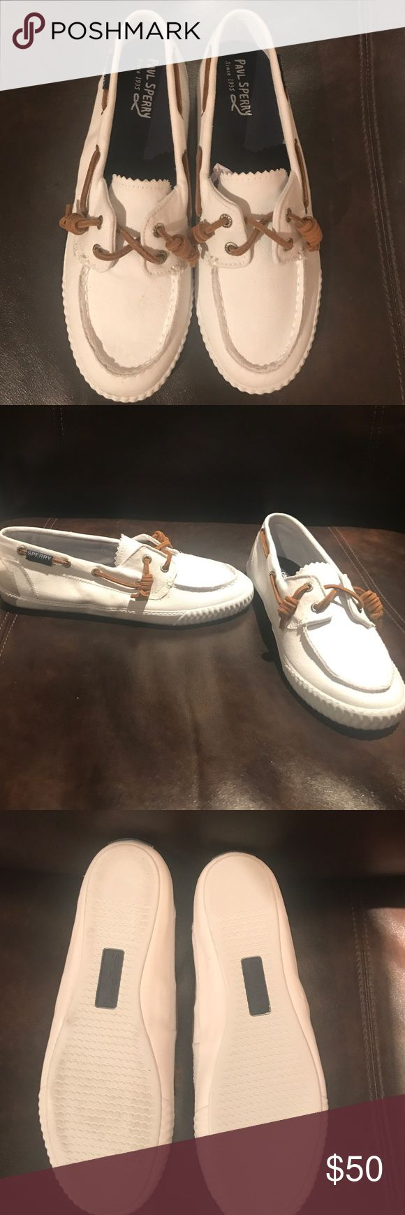 All white Sperrys Brand new never worn saywl away washed away white sperry boat shoes, comes with box. Has rubber soles, i can ship this nextbday. For more pictures please comment and let me know, i only tried one on to see how it would look like Sperry Shoes