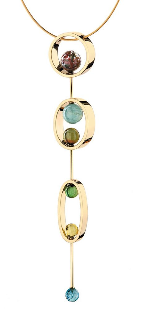 Yael Sonia Natural Encounters necklace with coloured gemstone cabochons in yellow gold. With more than half of the world's coloured stones originating from Brazil, it's no surprise the country is bursting with talented jewellery designers. http://www.thejewelleryeditor.com/jewellery/article/the-future-is-looking-bright-for-brazilian-jewellery-designers/ #jewelry