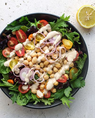 Green Salad + Chickpeas + Lemon-Tahini Dressing [revisited]... Simple, fresh and delicious!