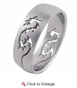 Stainless Steel Laser Cut Dragon Ring
