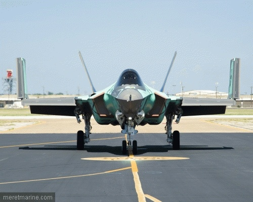 Wings folded on the naval version of the Lockheed-Martin F-35 C.