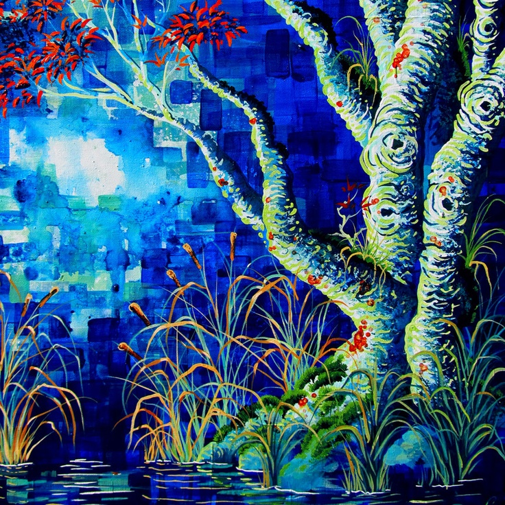 Shower Curtain Cloth September by Robert Walker tree blue orange red water swamp landscape art surreal Night moon nightscape teal aqua. $49.00, via Etsy.