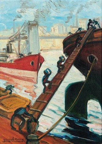 Le ravitaillement au port : Benito Quinquela Martín