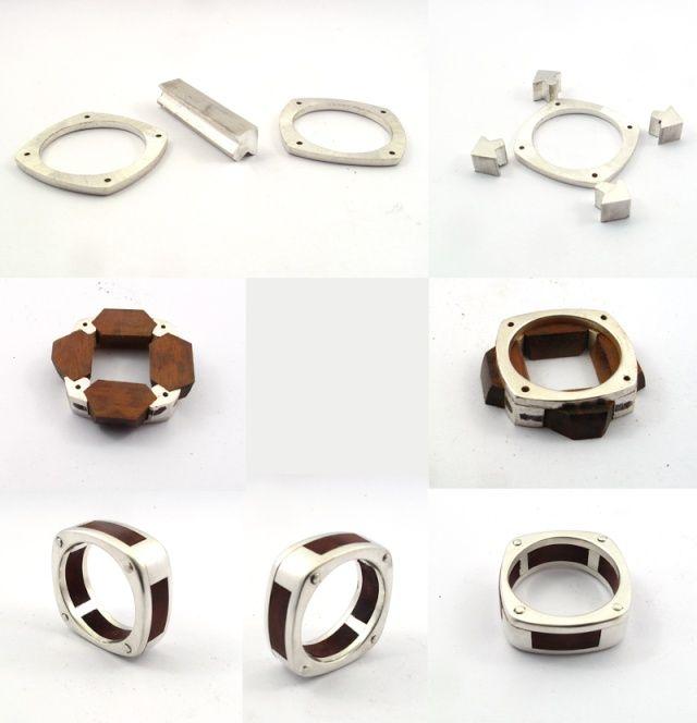 La version rectifiée après casse... - anello con inserti in legno - wood and silver ring