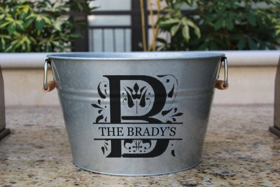 Custom Metal Bucket Monogram Ice Bucket by PrettyLettersShop