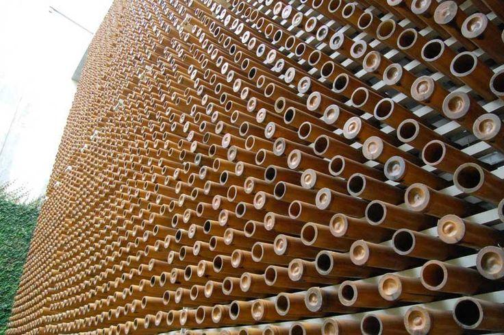 Pori-Pori House by Budi Pradono (Indonesian Architect)- Bamboo screen Facade