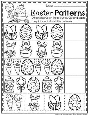 Preschool Easter Worksheets - Patterns practice for kids. #easter #preschool #easteractivities #easterpreschool #planningplaytime #easterworksheets #patternsworksheets #preschoolpatterns