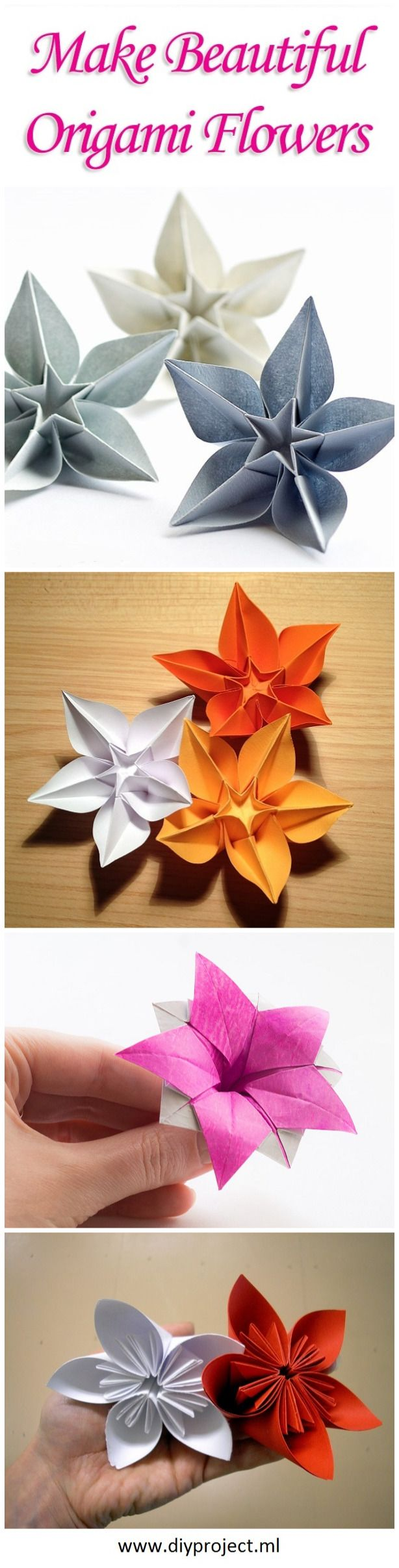 Make DIY Origami Flowers From a Single Sheet of Paper Without Glue. Visit: http://diyproject.ml/make-diy-origami-flowers-from-a-single-sheet-of-paper-without-glue/