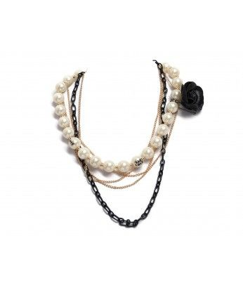 Large White Pearls Beads With Gold and Black Chains with Removable Black Flower - JULIET http://beewhimsy.com/index.php?route=product/product&product_id=206