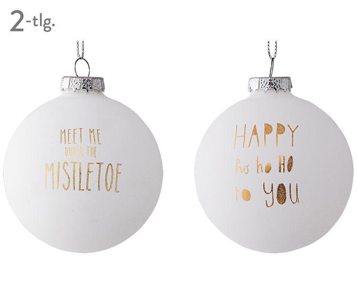 Frohe Weihnachten: Schmücken Sie Ihren Weihnachtsbaum mit den Weihnachtskugeln Mistletoe in Weiß und Gold. Angesagte Weihnachtsdeko von BLOOMINGVILLE bei >> WestwingNow.