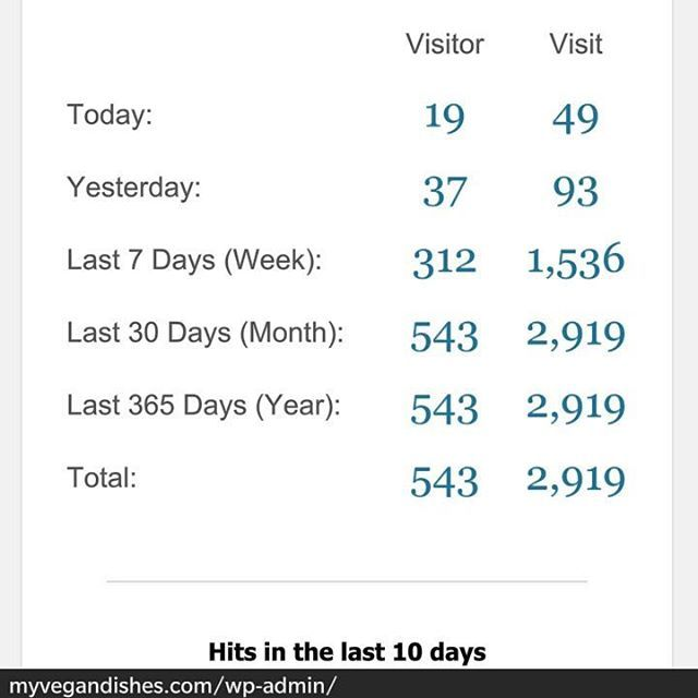 my vegan dishes statistics 2 weeks active with no seo